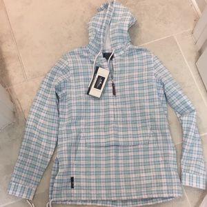 Charles river plaid half zip hoodie jacket xs nwt